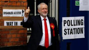 英國工黨領袖科爾賓 2017年6月8日 倫敦