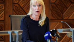 Le juge Gudrun Anteman évoque l'affaire Jean-Claude Arnault, à Stockholm, le 1er octobre 2018.