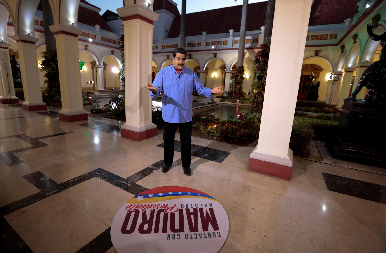 Le président vénézuélien, Nicolas Maduro, le 9 août 2016 pour son émission hebdomadaire «En contact avec Maduro».