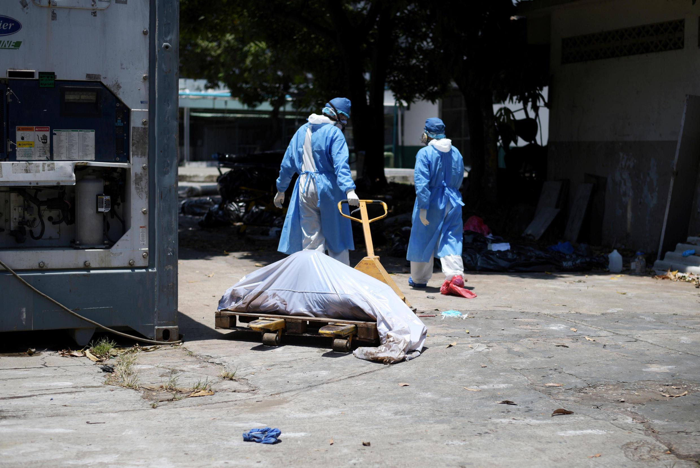 """کارکنان بهداشت و درمان شهر """"گوآیاکیل""""، در حال جمع کردن اجسادی که در خیابان گذاشته شدهاند"""
