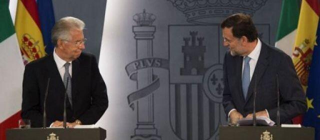 viongozi wa Uhispania  Mariano Rajoy na Italia Mario Monti