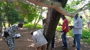 Début mai 2020, des villageois de N'Guessankro en Côte d'Ivoire observent les débris tombés du ciel d'une fusée chinoise Longue-Marche 5.