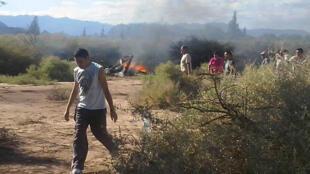 Local do acidente de helicóptero que deixou 10 mortos na província de La Rioja, em 9 de março de 2015.
