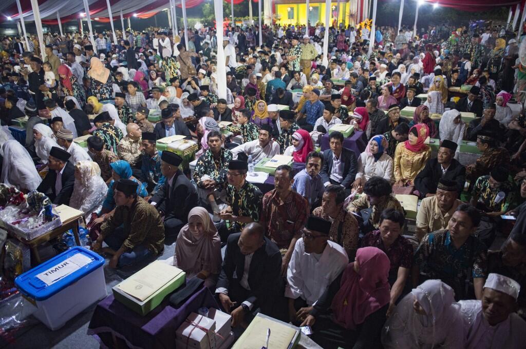 La cérémonie d'un mariage collectif à Jakarta, le 31 décembre 2017 (image d'illustration).