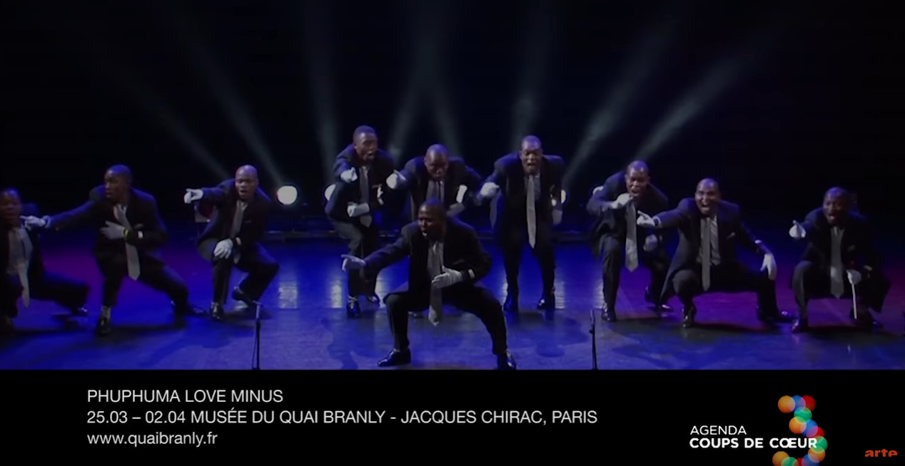 "Screen shot of ARTE video: male choir Phuphuma Love Minus perform their elegant ""isicathamiya"" Zulu singing and dancing tradition at Musée du Quai Branly on 25 March 2017."