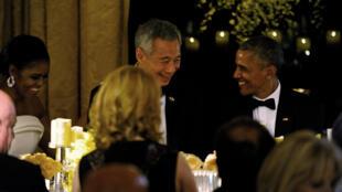 Tổng thống Mỹ Barack Obama và phu nhân tiếp đãi thủ tướng Singapore Lý Hiển Long trong dạ tiệc tại Nhà Trắng ngày 02/08/2016.