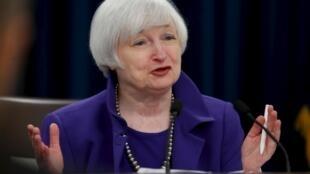 A presidente do Fed, Janet Yellen, em coletiva de imprensa em Washington nesta quarta-feira, 16 de dezembro.