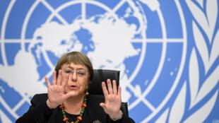 La Alta Comisionada para los Derechos Humanos de la ONU Michelle Bachelet ofrece una conferencia de prensa el 9 de diciembre de 2020 en Ginebra