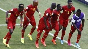 'Yan wasan Ghana John Boye, Andre Ayew, Jonathan Mensah, Christian Atsu, Asamoah Gyan da Mubarak Wakaso