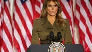 La première dame des États-Unis Melania Trump lors de la convention républicaine, à la Maison Blanche, le 25 août 2020.