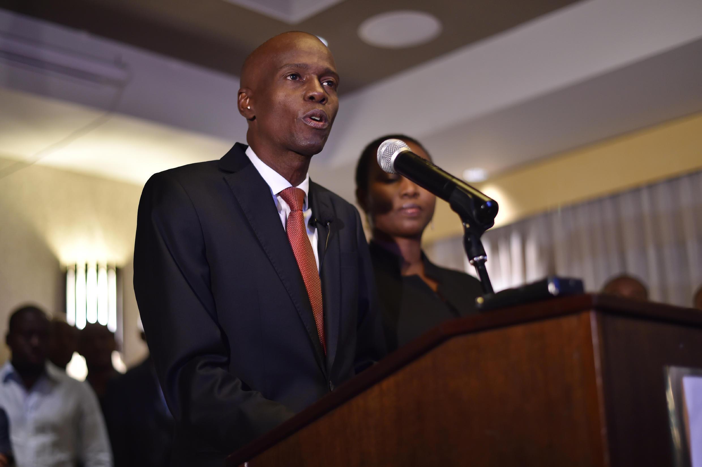 Jovenel Moise, wakati wa hotuba yake ukifuatiwa na kutangazwa kwa matokeo ya uchaguzi wa urais wa Haiti.