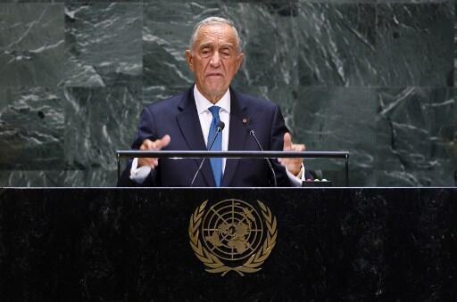 Presidente português, Marcelo Rebelo de Sousa, na Assembleia Geral da ONU a 24 de Setembro de 2019.