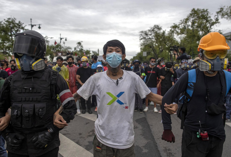 Des manifestants pro-démocratie à Bangkok, le 20 septembre 2020.