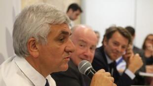 Le président des régions de France Hervé Morin, lors d'une conférence de presse le 3 juillet 2018 à l'Assemblée des départements de France (ADF), à Paris.