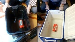 the flight recorder (L) from the EgyptAir plane
