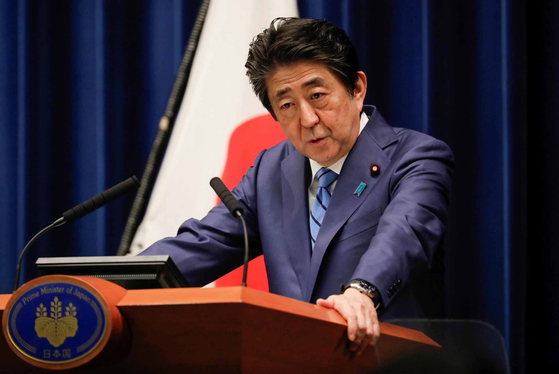 Le Premier ministre Shinzo Abe lors d'une conférence de presse consacrée à l'épidémie de coronavirus, le 14 mars 2020.
