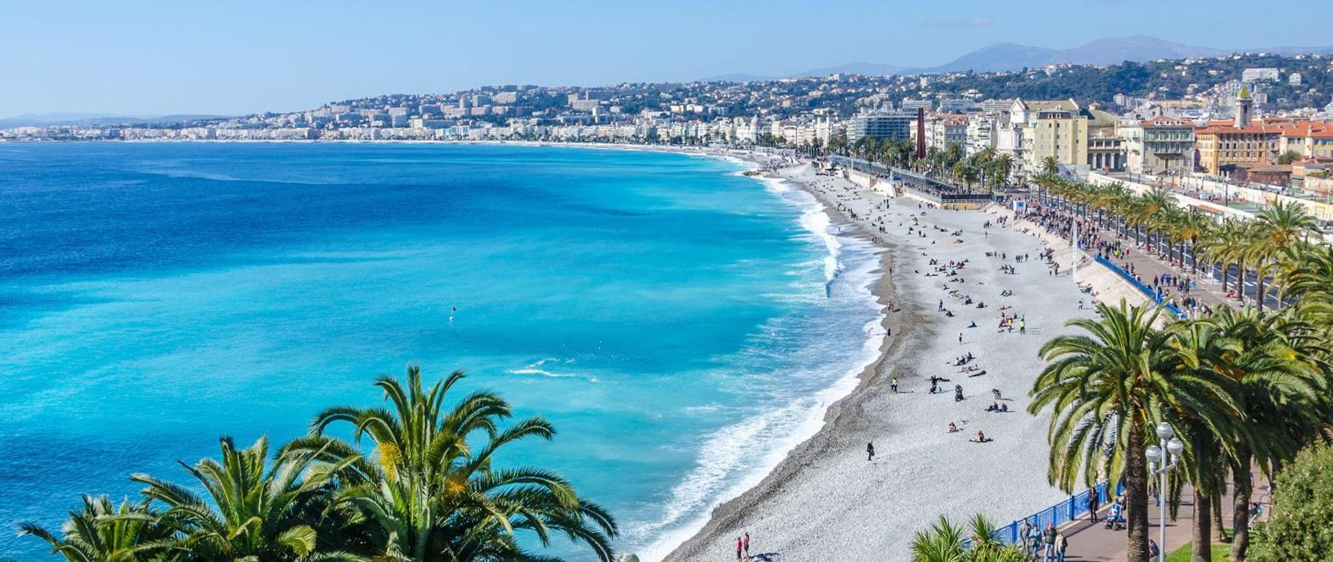 The seafront at Nice in the south of France
