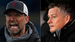Jurgen Klopp (Liverpool) @Lee Smith/AFP et Ole Gunnar Solskjaer (Manchester United) @Filippo Monteforte/AFP.