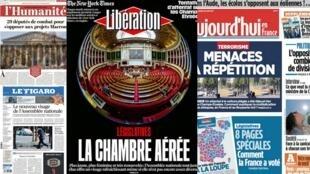 A composição do novo Parlamento francês é o principal assunto nas manchetes nesta terça-feira.