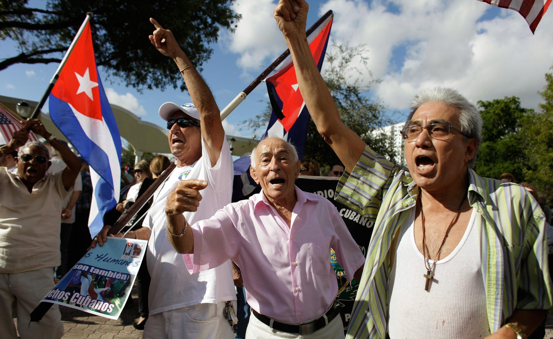 Manifestación anticastrista en Miami