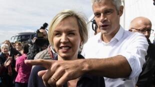 Laurent Wauquiez, alors vice-président des Républicains (d), et Virginie Calmels, ancienne numéro 2 du parti limogée en juin, le 3 septembrre 2017, avant l'ascension du Mont Mézenc. (Photo d'archive).