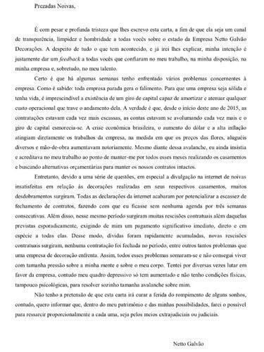 Carta do estelionatário brasileiro Neto galvão, enviada as noivas.
