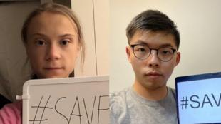瑞典環保少女通貝里與黃之鋒資料圖片