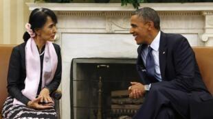 La Birmane Aung San Suu Kyi a été reçue par Barack Obama à la Maison Blanche, le 19 septembre 2012.