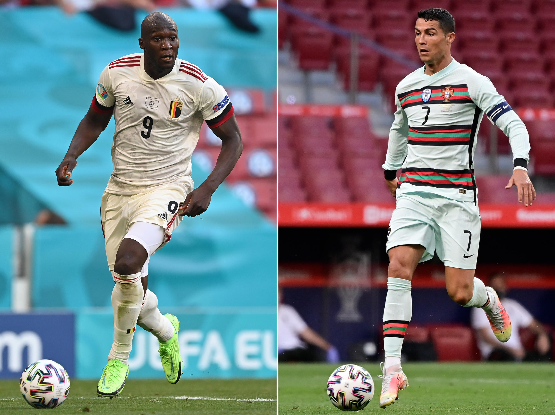 Romelu Lukaku (L) and Portugal's forward Cristiano Ronaldo and Belgium striker Romelu Lukaku will recommence their domestic rivalry on the Euro 2020 stage