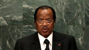 Le président camerounais Paul Biya à la 71e assemblée générale des Nations Unies le 22 septembre 2016. Il a annoncé le 30 août 2017 la libération de deux leaders anglophones.