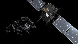 """Philae se separa da nave Rosetta para pousar no cometa """"Chury""""."""