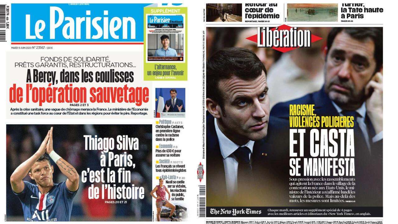 Jornais franceses destacam em suas manchetes nesta terça-feira, 9 de junho, os anúncios feitos pelo ministro do Interior, Christophe Castaner, a fim de combater a violência policial e o racismo.