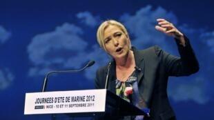 La présidente du Front national Marine Le Pen, à Nice, le 11 septembre 2011.