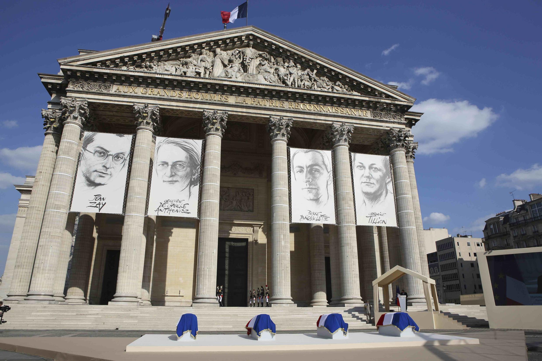 Портреты героев Сопротивления на фасаде Пантеона 27 мая 2015
