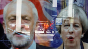 A premiê Theresa May e o líder trabalhista Jeremy Corbyn