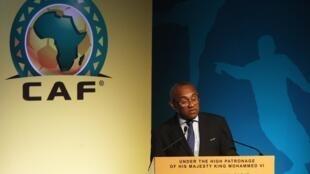 Ahmad Ahmad , Presidente da CAF, Confederação Africana de Futebol no simpósio de Rabat, em Marrocos, a 18 de Julho de 2017.