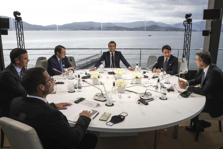 Участники саммита Med7, который состоялся вечером 10 сентября 2020 г. на Корсике