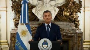 Captura de pantalla del mensaje grabado por el presidente argentino Mauricio Macri, el 3 de septiembre de 2018.