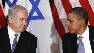 باراک اوباما و بنیامین نتانیاهو در حاشیۀ مجمع عمومی سازمان ملل