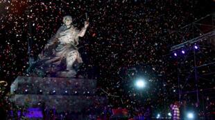 Cristina Fernández de Kirchner y Evo Morales inauguran el monumento a Juana Azurduy, 15 de julio de 2015.