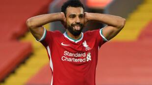 Le milieu égyptien de Liverpool, Mohamed Salah, auteur d'un triplé lors du match de Premier League à domicile face à Leeds, le 12 septembre 2020