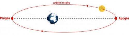 L'orbite de la Lune ne décrit pas un cercle parfait autour de la Terre, mais une ellipse. La distance Terre-Lune varie donc considérablement.