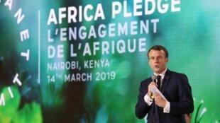 Emmanuel Macron lors du One Planet Summit à Nairobi, au Kenya, le 14 mars 2019.