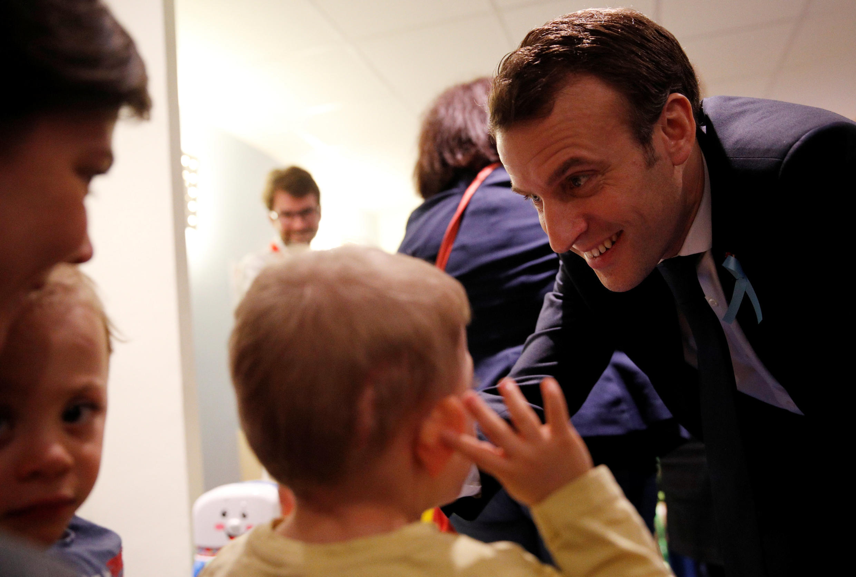 French president Emmanuel Macron meeting autistic children, Rouen, 5 April 2018.