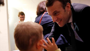 French president Emmanuel Macron meeting autistic children, Rouen, 5 April 2018.