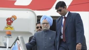 El premier indio Manmohan Singh a su llegada a San Petersburgo para la Cumbre del G20, este 4 de septiembre.