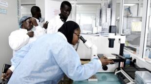 Le personnel scientifique à la recherche du coronavirus, dans le laboratoire sécurisé de l'Institut Pasteur de Dakar, le 3 février 2020.