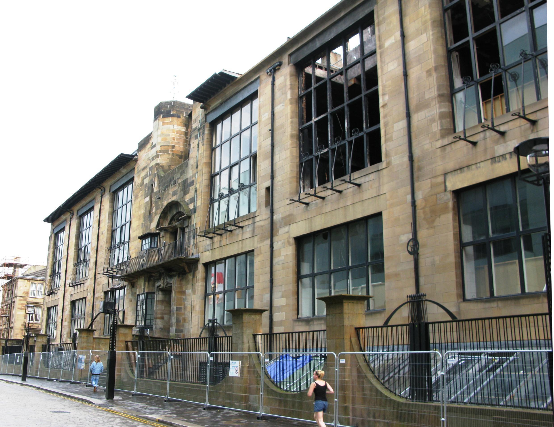 A Escola de Artes de Glasgow após incêndio de 2014.
