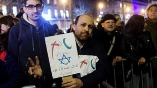 Thousands of people took part in a rally against anti-Semitism at the Place de la République in Paris, 19 February 2019.