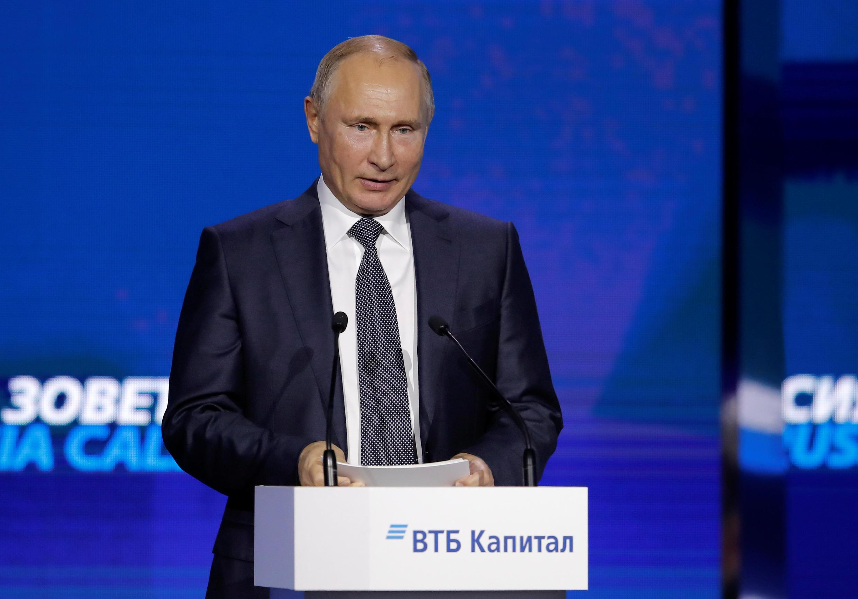 O presidente russo, Vladimir Putin, durante discurso em Moscou, em 28 de novembro de 2018.